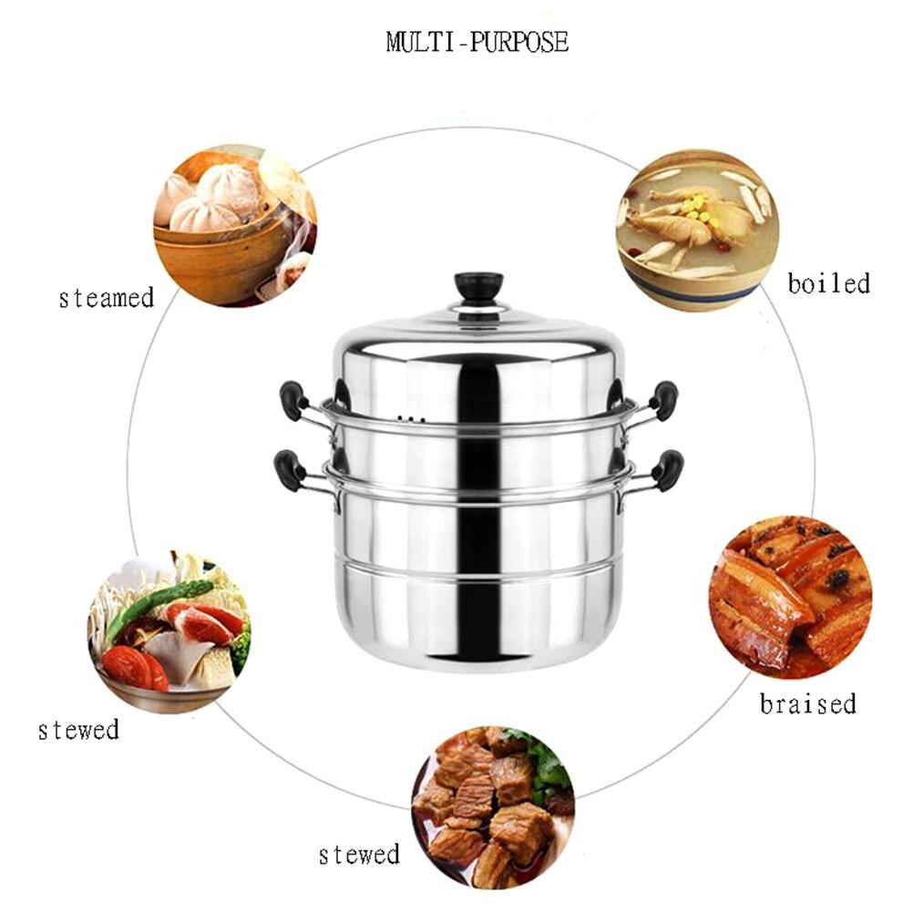1 Set en acier inoxydable 3 niveaux vapeur vapeur cuisson à la vapeur casserole cuisine outil casserole cuisine