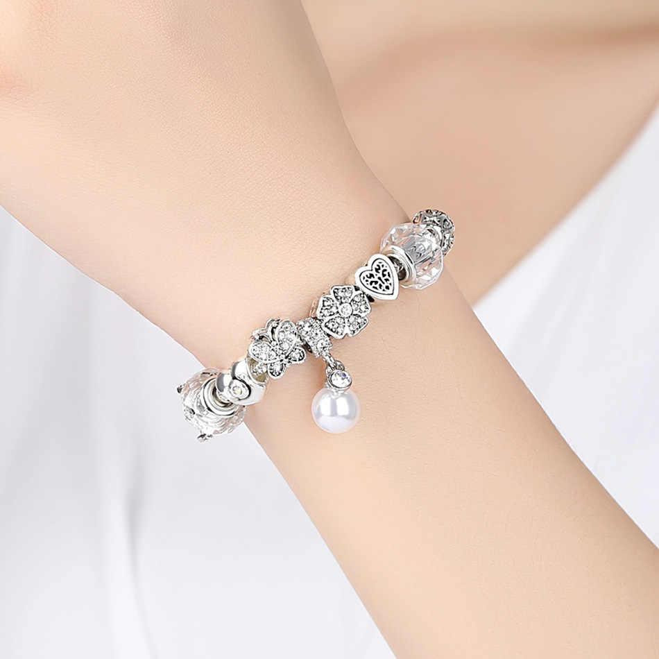 ELESHE ювелирные изделия с королевой серебряный браслет с шармами & Браслеты жемчужная подвеска с клевером бусины в виде корон браслет для женщин Свадьба