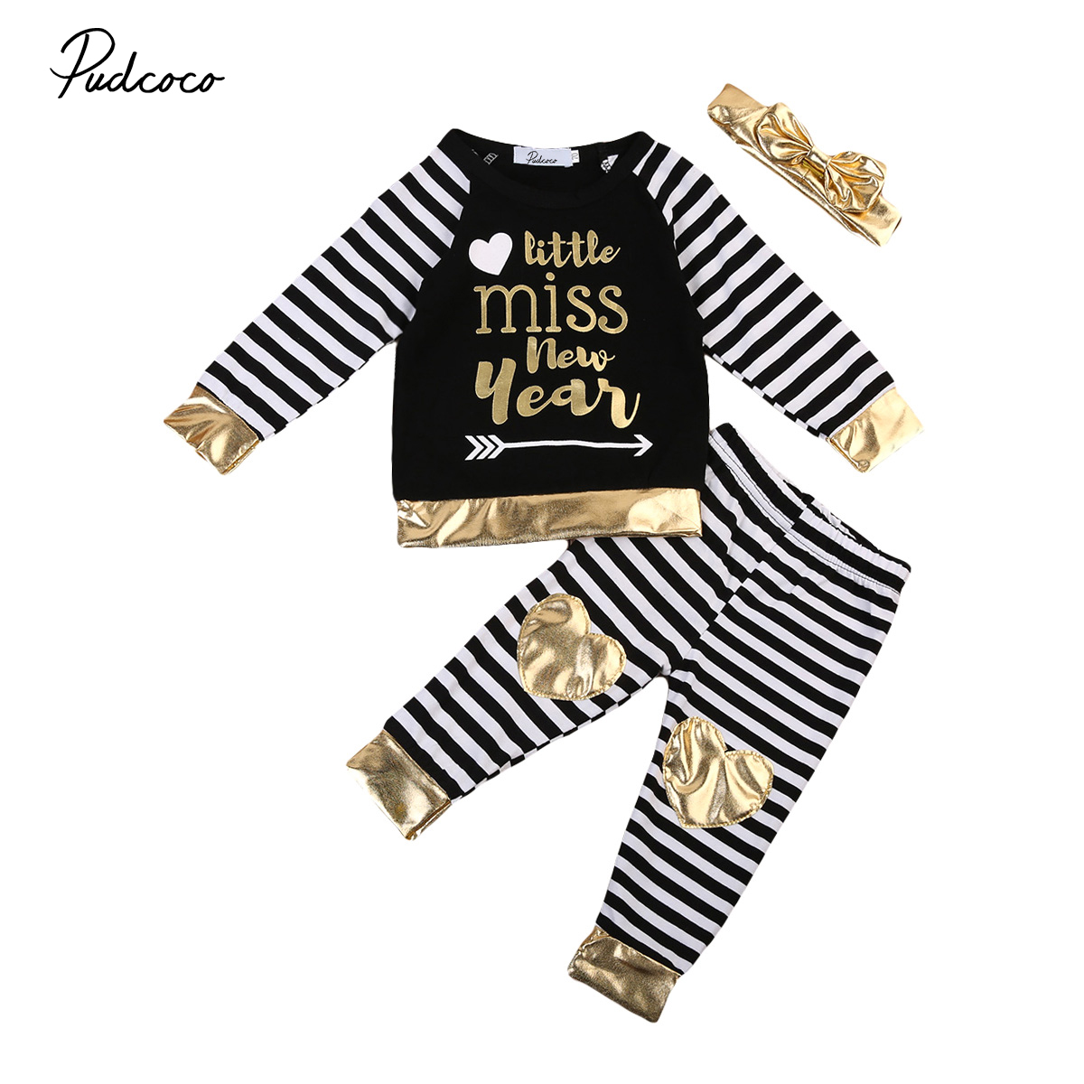 Cute 3pcs Toddler Infant Girl Outfits Headband+Striped Top+Pants Kid Clothes Set