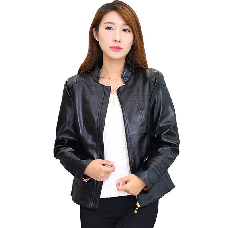 Plus Size 6XL Women's Office Work Faux   Leather   Jacket Party Coat Women Brand Motorcycle PU   Leather   Jacket Zipper Outerwear