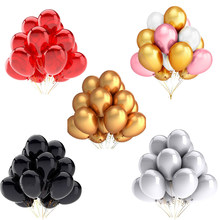 20pcs Gold white Black pink Latex Balloons Birthday Party ball Wedding Decoration Inflatable Air balloon Kids baby shower ballon(China)