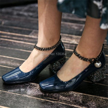 Autumn Shallow Mouth High-heeled Work Shoes Women Metal Decoration Thick Heel Casual Party Wedding Shoes Female Pumps Gladiator
