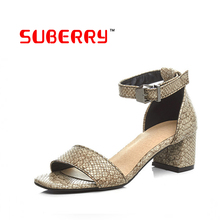 2016 Women Summer Shoes White Black Fashion Open Toe Platform PU Serpentine Sandals Women's High-heeled Shoes Thick Heel Sandals
