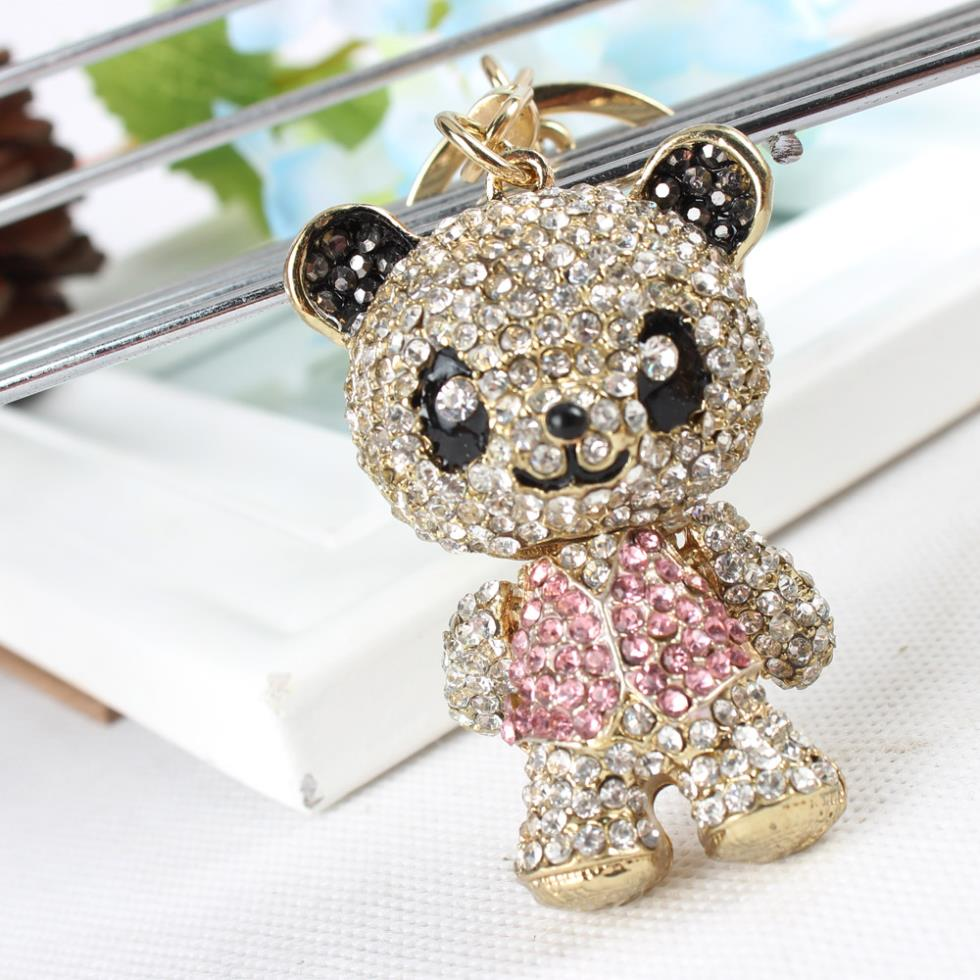 Panda Skirt Pink Arm Head Move Keyring Pendant Rhinestone Crystal Purse Bag Key chain Jewelry Birthday Party Wedding Gift