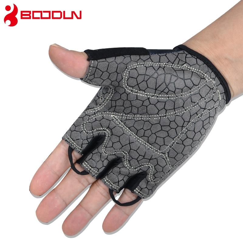 Купить с кэшбэком Boodun Weight Lifting Men Gym Sports Gloves Training Fitness Women Dumbbell  Half Finger Bodybuilding Workout Gloves