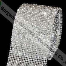 1 ярд, 24 ряда, прозрачные хрустальные стразы, сетчатая отделка с SS12 камнями, прозрачная пластиковая основа для костюма, украшения свадебного торта