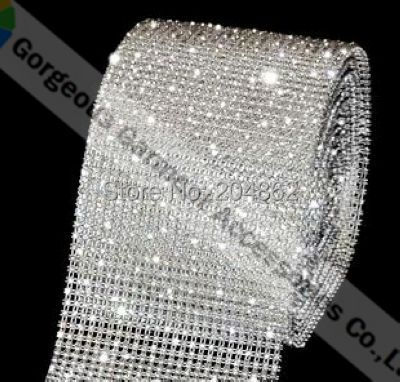 1 yard 24 row clear crystal rhinestone mesh trim with SS12 stones Transparent plastic base For Costume wedding cake decoration