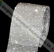 1 yard 24 row clear crystal rhinestone mesh trim with SS12 stones  Transparent plastic base For Costume wedding cake decoration d06c02ba73d9