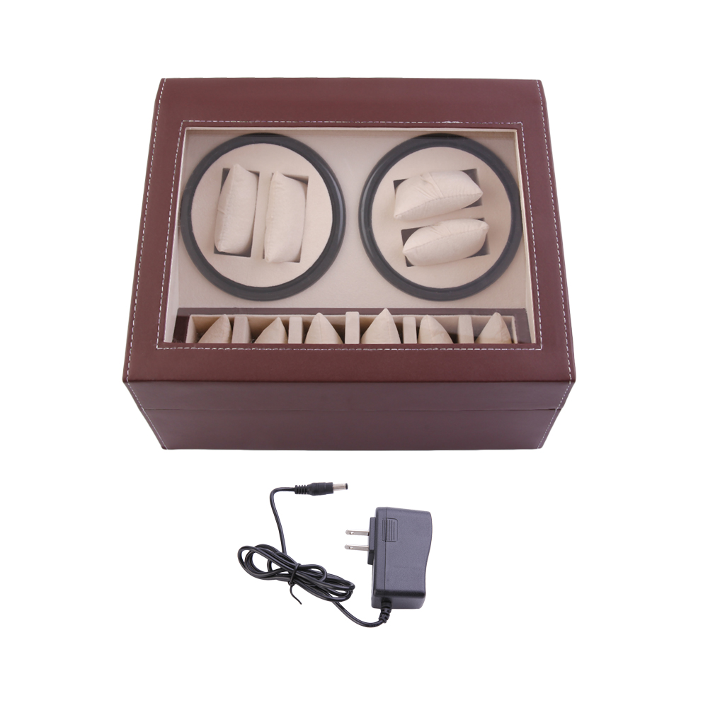 4+6 Automatic Rotation Leather Watch Winder Storage Display Case Box Black Brown Color Ship from US 2 3 green glossy suface pu inside automatic watch winder 5 modes wooden automatic watch winder
