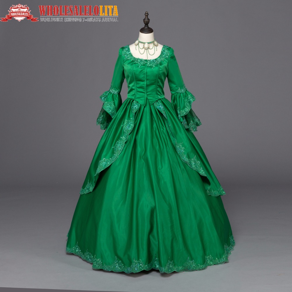 Green Marie Antoinette Colonial Brocade Period Dress Ball Gown ...