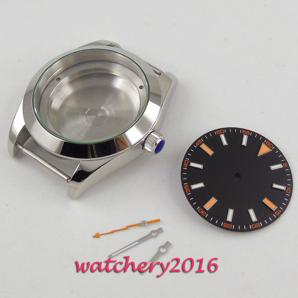 High quality 40mm PARNIS black Sterile Dial + Hands + hardened Steel Watch Case set fit ETA 2813 MIYOTA 8215 821A  MovementHigh quality 40mm PARNIS black Sterile Dial + Hands + hardened Steel Watch Case set fit ETA 2813 MIYOTA 8215 821A  Movement