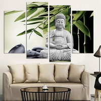 Modern Buddha Painting 4 Picture Home Decoration marble buddha and banboo landscape art canvas no frame