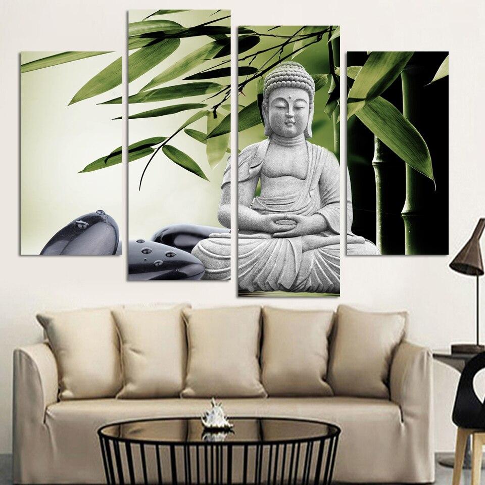 Современные Будды Живопись 4 картина украшение дома мраморный Будда и banboo пейзаж на холсте No Frame