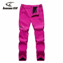 LXIAO Hiking Pants Women Autumn/Winter New Outdoor Couple Plus Velvet Trousers Thermal Windproof Loose Skiing Men