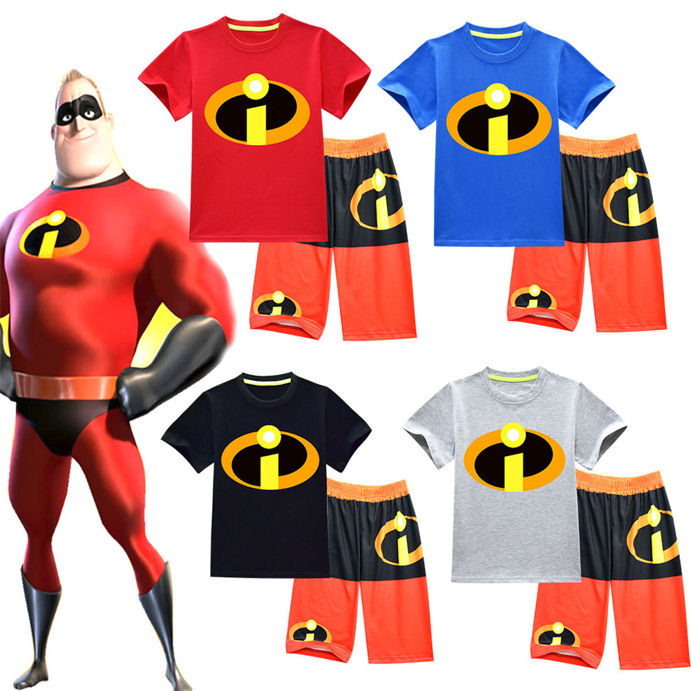The Incredibles 2 cosplay Costume Halloween Superman Costume Short sleeve set pajamas Fo ...
