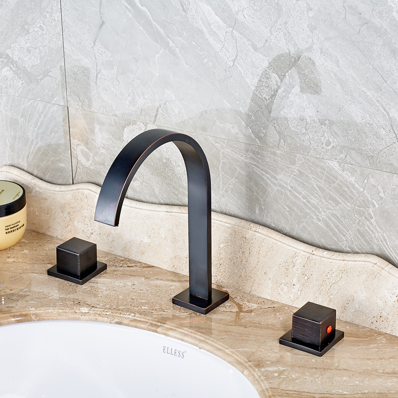 Traditional Oil Rubbed Bronze Finished Deck Mounted Bathroom Sink Faucet Double Handle Mixer Tap deck mounted bathroom sink faucet dual hanlde vanity sink mixer tap oil rubbed bronze finished