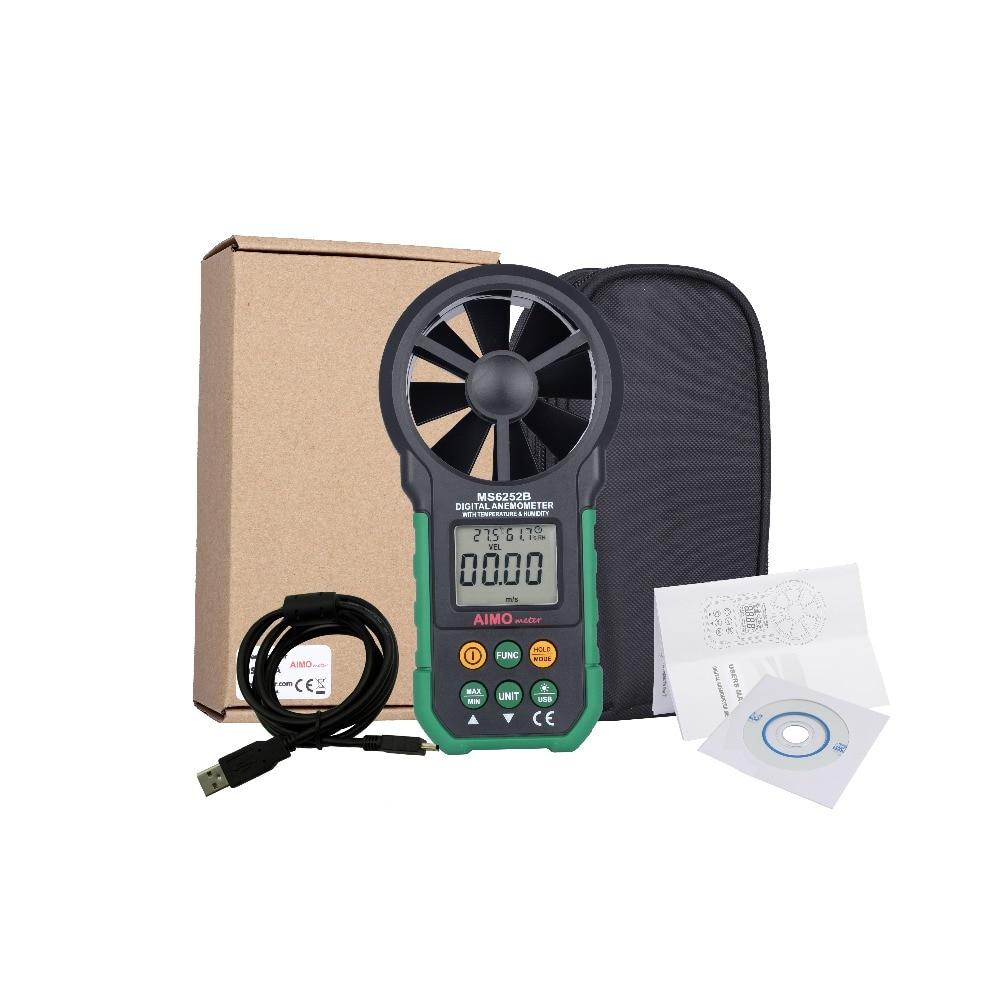 где купить aimometer MS6252B Digital Anemometer Temperature Humidity Tester Sensor Anemometro Air Flow Wind Speed Velocity Meter USB дешево
