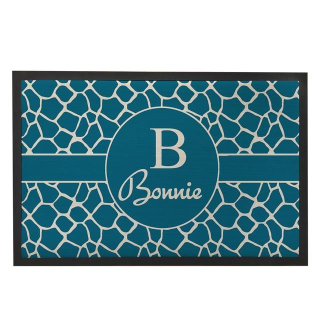 Teal Blue Zebra Doormat For Entrance Door,Custom Door Mat Outdoor,Rubber  Floor Mats