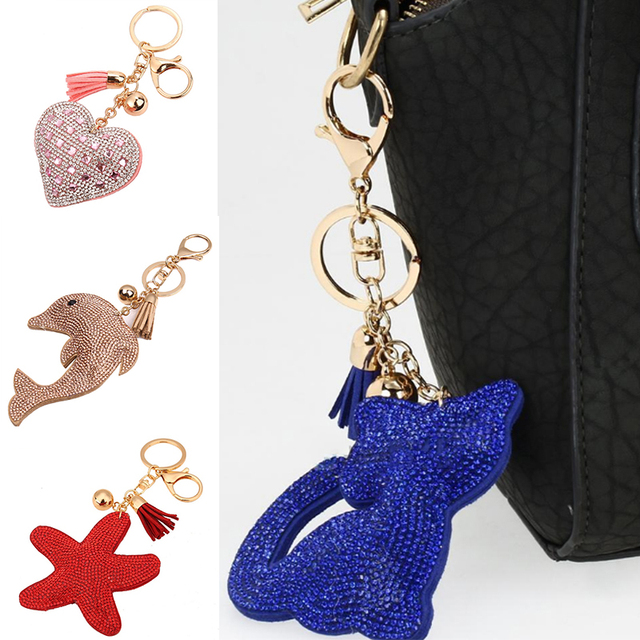 Sale 1PC New Charm Tassel Leather Keychain Crystal Heart Dolphin Cat  Rhinestones 9 Styles Pendant Keyring Wholesale-in Key Chains from Jewelry &