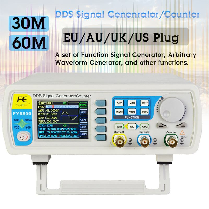 FY6800 générateur de Signal numérique double canal DDS générateur de fonction de fréquence générateur de forme d'onde arbitraire 250MSa/s 14bits 60MHz