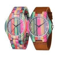 Брендовые Роскошные бамбуковые ручные часы для унисекс тонкие дизайнерские часы цветные простые женские часы деревянные кварцевые наручн...