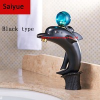 New ORB Dolphin Wholesale And Retail Simple Style Black Brass Wall Mounted Basin Faucet Single Handle