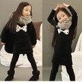 2014 Новый продукт Осень и Зима новый Корейский одежда девушки перевернутый кашемир рубашки плюс толстый бархат лук платье для девочек