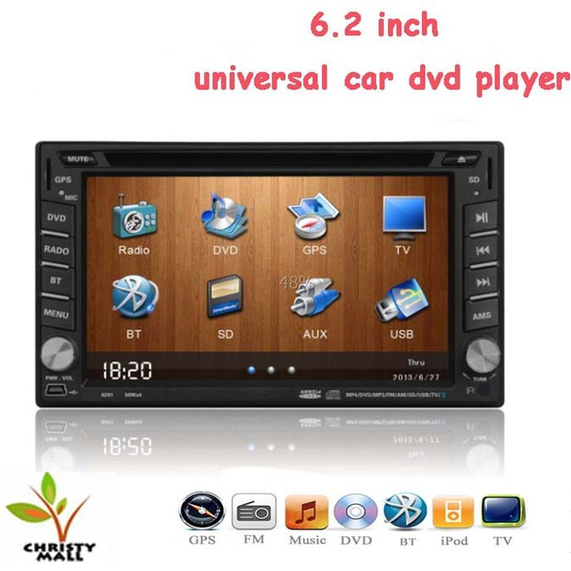 Universal 6.2'' car dvd player 2 din with GPS bluetooth usb windows ce FM raido MP3 player free map DHL/EMS  free shipping
