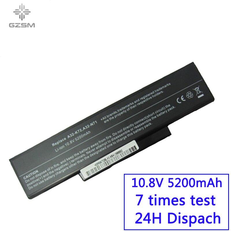 GZSM Laptop Battery A32-K72 For Asus A32-N71 K72DR  Battery For Laptop  K72D K72JR  K73  Batteries K73SV K73S K73E N73SV Battery