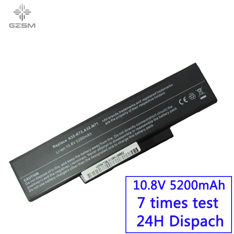GZSM Laptop Battery A32-K72 For Asus A32-N71 K72DR  Battery For Laptop  K72D K72JR  K73  Batteries K73SV K73S K73E N73SV Battery