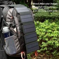 Kernuap Sunpower Lipat 10W Sel Surya Charger 5V 2.1A USB Output Perangkat Portabel Solar Panel untuk Smartphone