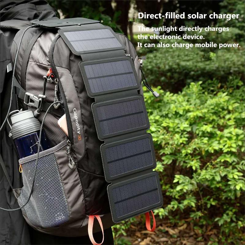 Kernuap sunpower dobrável 10 w células solares carregador 5 v 2.1a dispositivos de saída usb painéis solares portáteis para smartphones