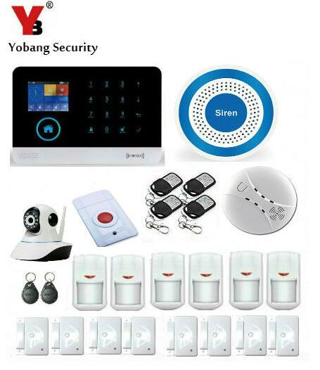 Yobang Security-App Remote Control Alarm Kit WIFI GSM Alarm Panel With Wireless Blue Siren Home Security Camera Motion Detection yobang security rfid gsm gprs alarm systems outdoor solar siren wifi sms wireless alarme kits metal remote control motion alarm