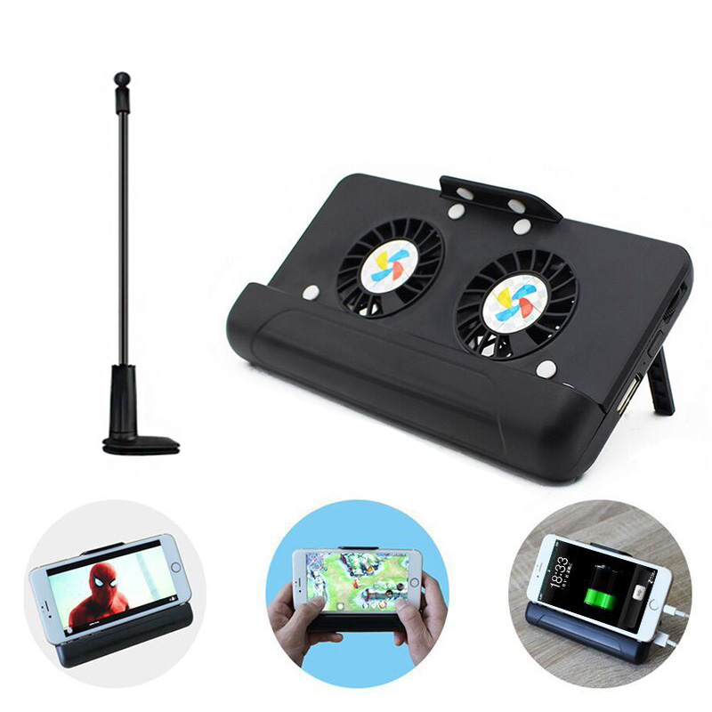 4 in 1 Portable Cell Phone Cooler Cooling + Power Bank + Double Stand + Gooseneck Stand for Game Movie @JH