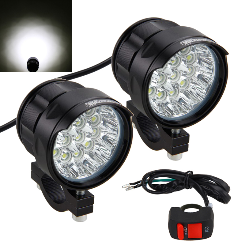 2PCS 80W 10000LM 4V-84V Motorcycle 16x XM-L T6 LED Headlight Driving Fog Lamp Spot Light with Switch2PCS 80W 10000LM 4V-84V Motorcycle 16x XM-L T6 LED Headlight Driving Fog Lamp Spot Light with Switch