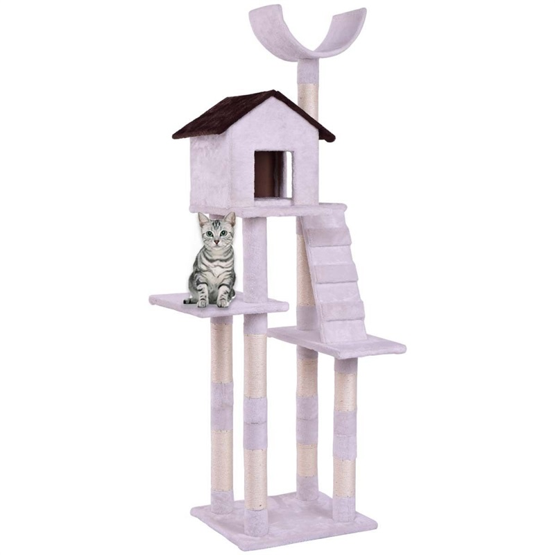 Pet Cat Climbing Tree With Ladder Play House Tower Condo Bed Cats Scratching Posts Kitten Wood Cat Furniture Supplies PS7008WH