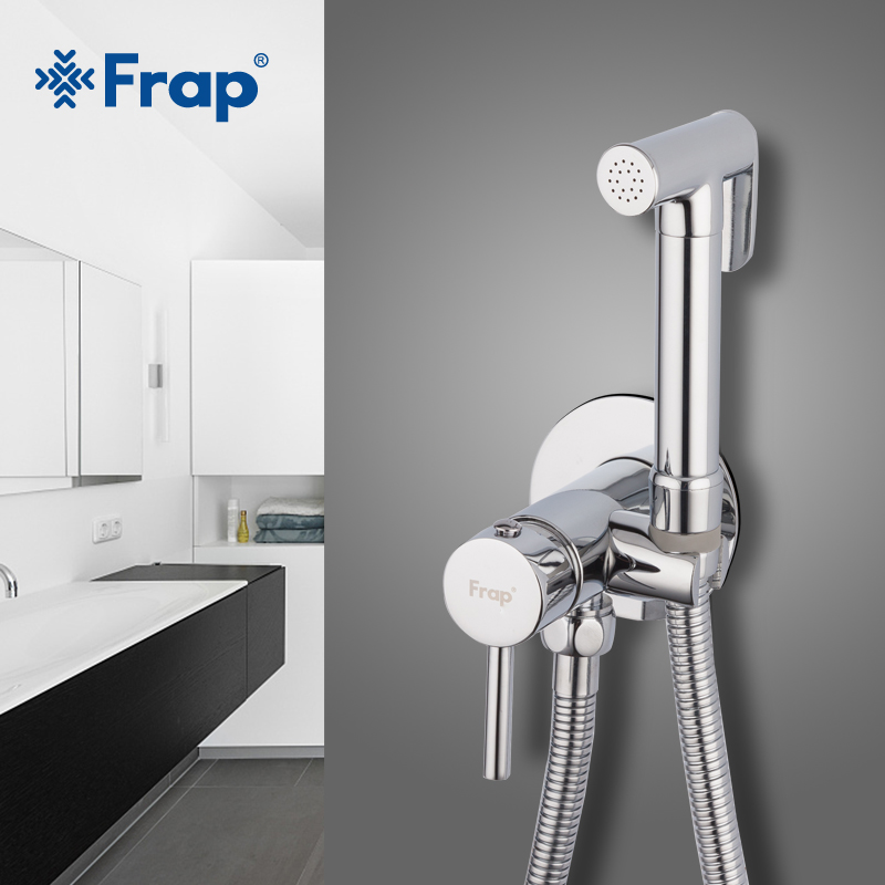 Frap Quality Brass Bidet Faucet Bathroom Shower Tap Hand Held Bidet Shower Bidet Sprayer Mixer Muslim Shower Toilet Taps F7505-2 цена