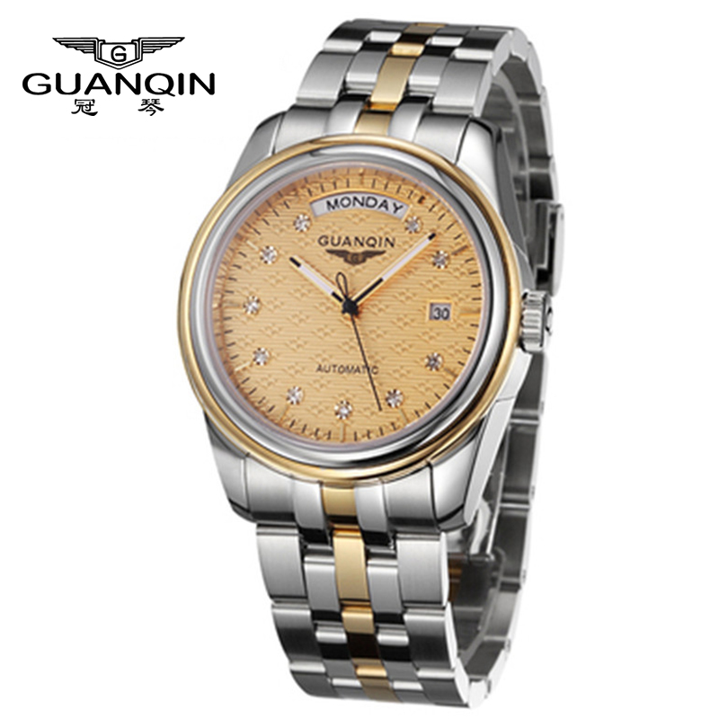 Tops Luxury Brand GUANQIN Men Watch Mechanical Automatic Diamond Steel Sapphire Waterproof Male Watches Men Fashion Watch guanqin men automatic mechanical watch diamond waterproof sapphire watches steel men luxury top brand menb gold wristwatches