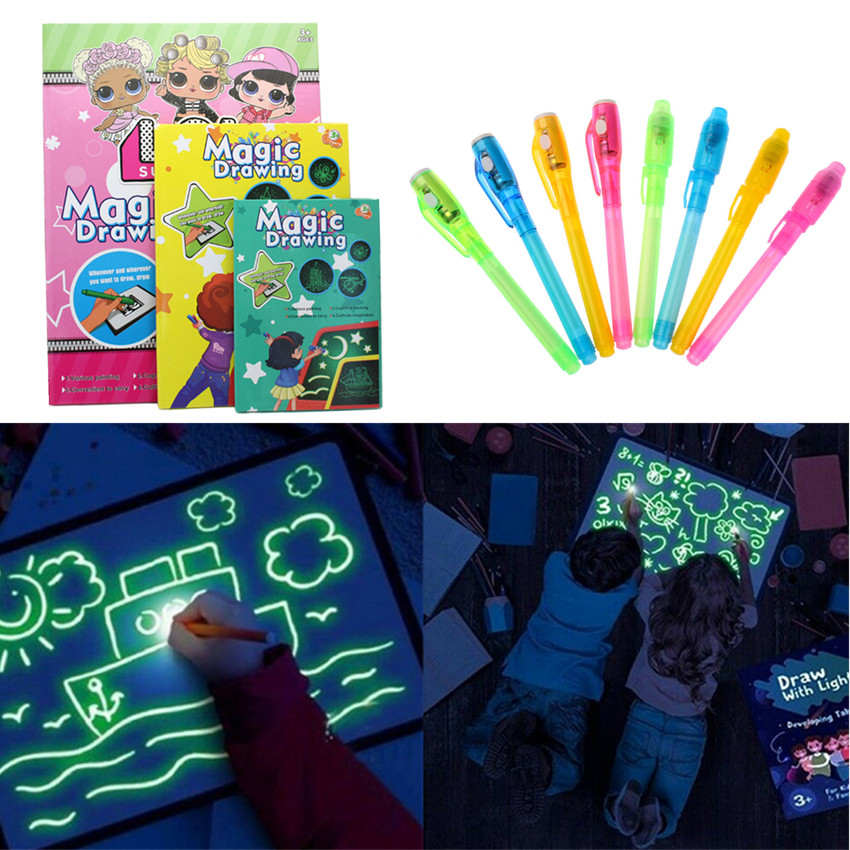 1PC A4 A5 LED Luminous Drawing Board Graffiti Doodle Drawing Tablet Magic Draw With Light-Fun Fluorescent Pen Educational Toy(China)
