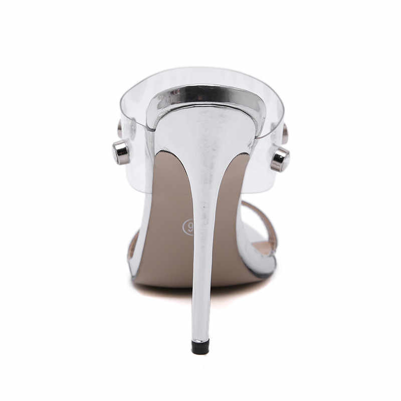 f8639242bfd6 ... JOJOFOX Sexy Band Clear Pvc Luxury Rhinestone Sandals Women Super High  Heels Muller Shoes Women Slippers ...