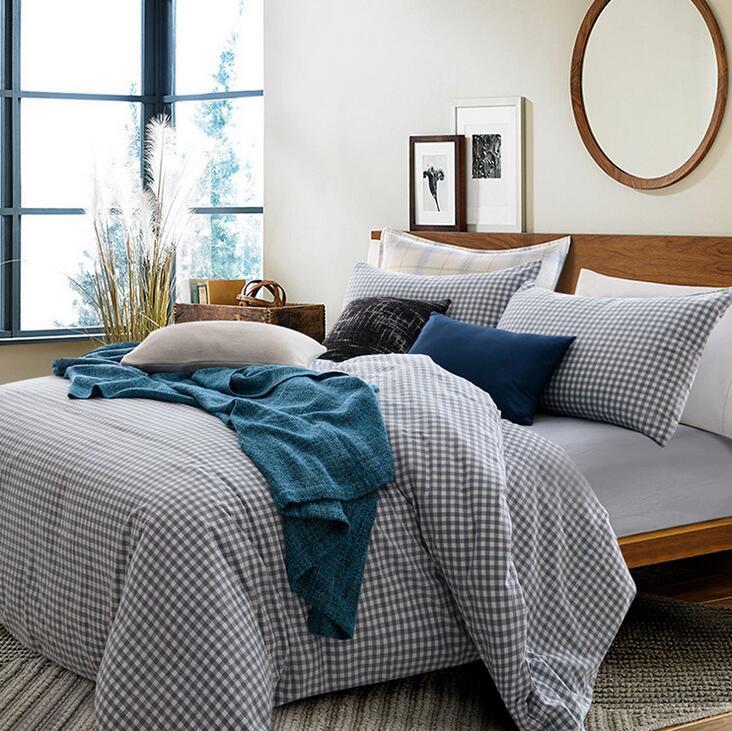 Chic Blue Beige Cotton Linen Plaid Curtains For Boys Bedroom: Euro Style King's Blue Plaid Cotton Bed Linens Quilt Cover