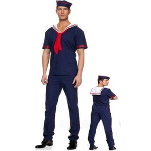 Image 2 - Adults Man Navy Sailor Cosplay Costume Male Stage Performance Costumes  Masquerade Party Dress  Purim Halloween Christmas