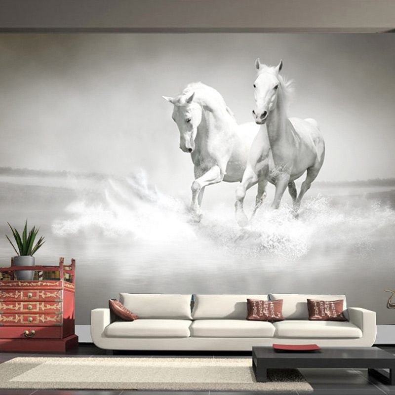 Customized Any Size Wall Mural Wallpaper White Horse 3D Embossed Decor Paper Non Woven Bedroom Living Room
