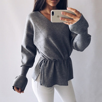 Women sweater loose style knitted solid color casual drawstring sweater design V neck trumpet sleeve sweater