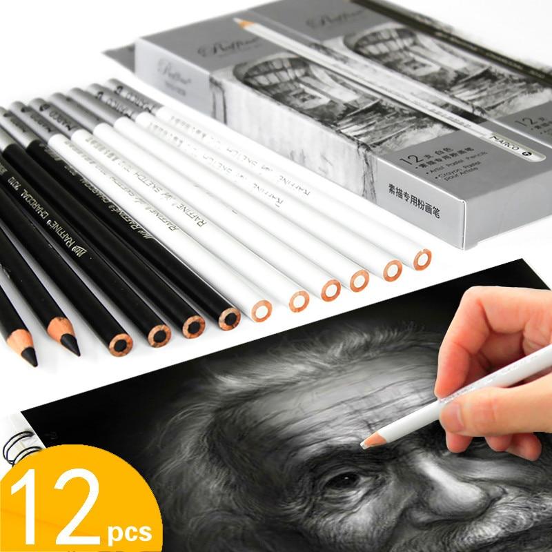 12pcs White Charcoal Pencil Dibujo Profesional Black Charcoal Pencil Sketch Drawing Carboncillos Para Dibujar Pencil Papeleria