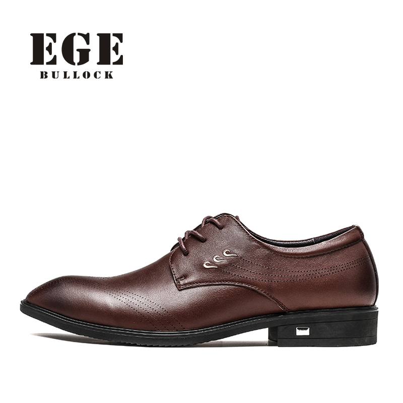 Men Oxfords EGE Brand Genuine Leather High Quality Dress Shoes Male Flats Classic Retro Business Pointed toe Shoes for Men new brand designer formal men dress shoes lace up business party oxfords shoes for men pointed toe brogues men s flats plus size