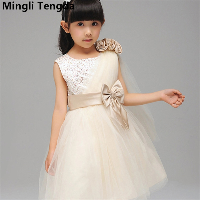 Mingli Tengda Ball Gown Flower Girl Dresses for Weddings Bow Dresses for Girls Flower Girl Dresses Elegant Girls Dress with Belt