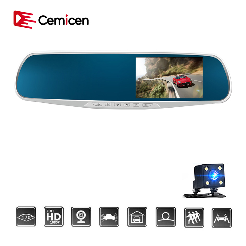 Car Dvr Mirror Dual Lens Rear View Camera Auto Full HD 1080P Dash Camera For Car