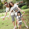 2016 Summer New Cartoon  Family Matching Clothing Outfits Holiday mother son daughter father sets t shirt +Pants
