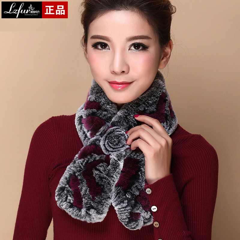 Bufanda para mujer de conejo rex pelo de invierno para mujer bufanda de la bufanda de